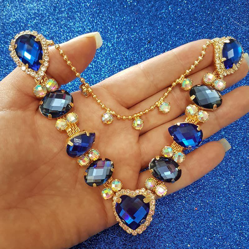 Cabedal Luxo V - Coração de Pedra Mesclado (Azul Royal e Azul Marinho)