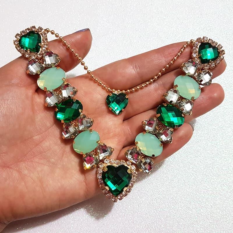 Cabedal Luxo V - Corações de Pedra Especial Mesclado (Verde Bandeira e Verde Água)