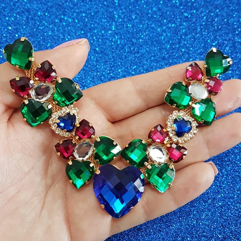 Cabedal Luxo V - Corações para Amar Mesclado (Azul, Verde e Pink)