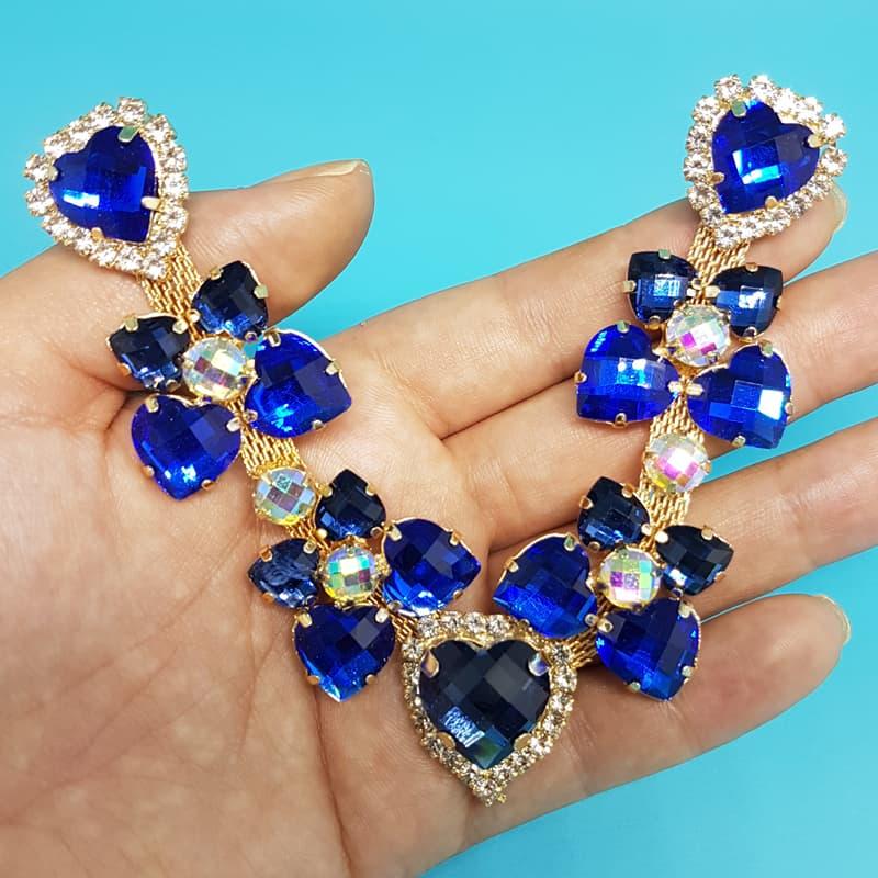 Cabedal Luxo V - Corações para Amar Strass (Azul Royal)