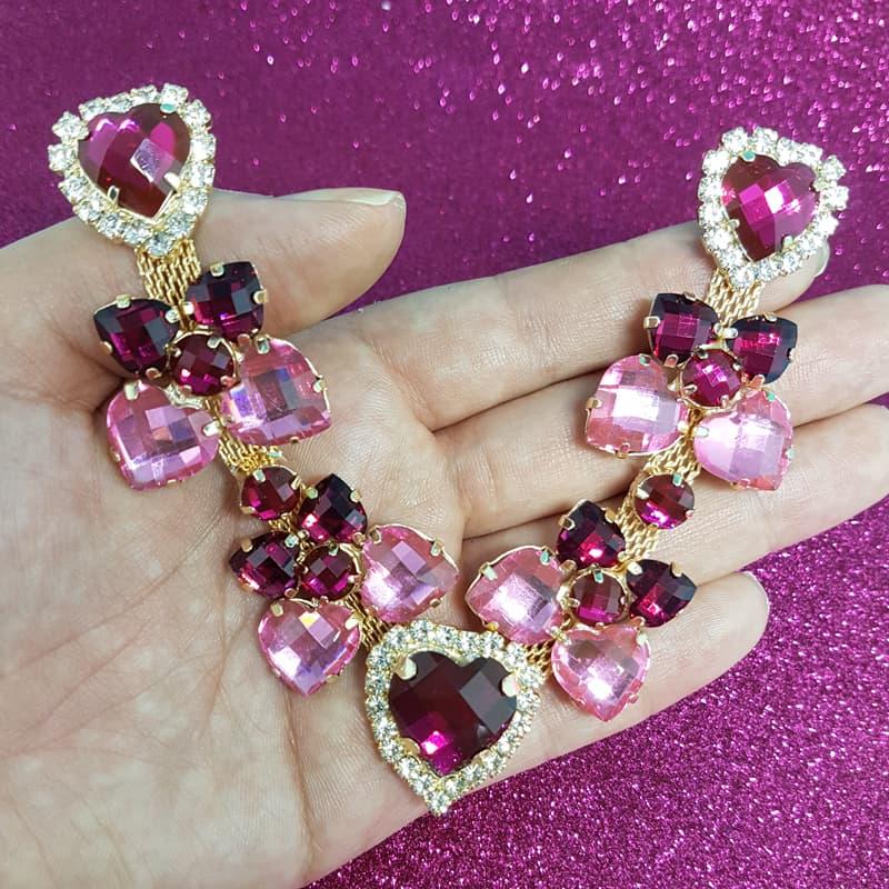 Cabedal Luxo V - Corações para Amar Strass Mesclado (Pink e Rosa)