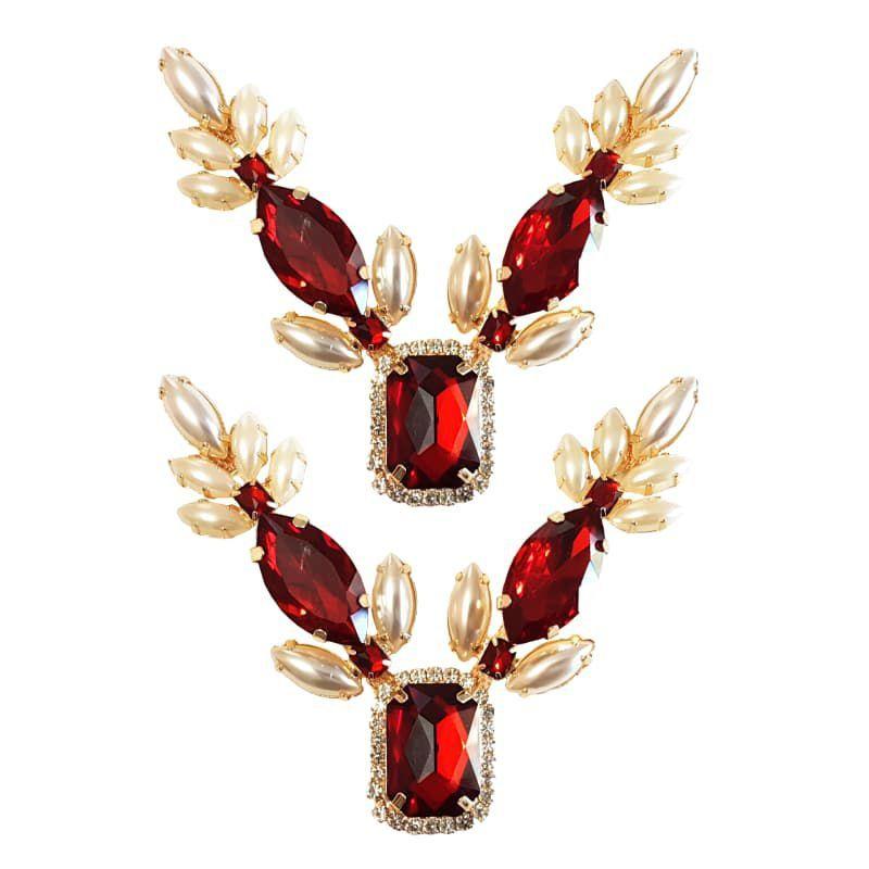 Cabedal Luxo V - Espelho Arabesco Mesclado (Vermelho e Pérola)