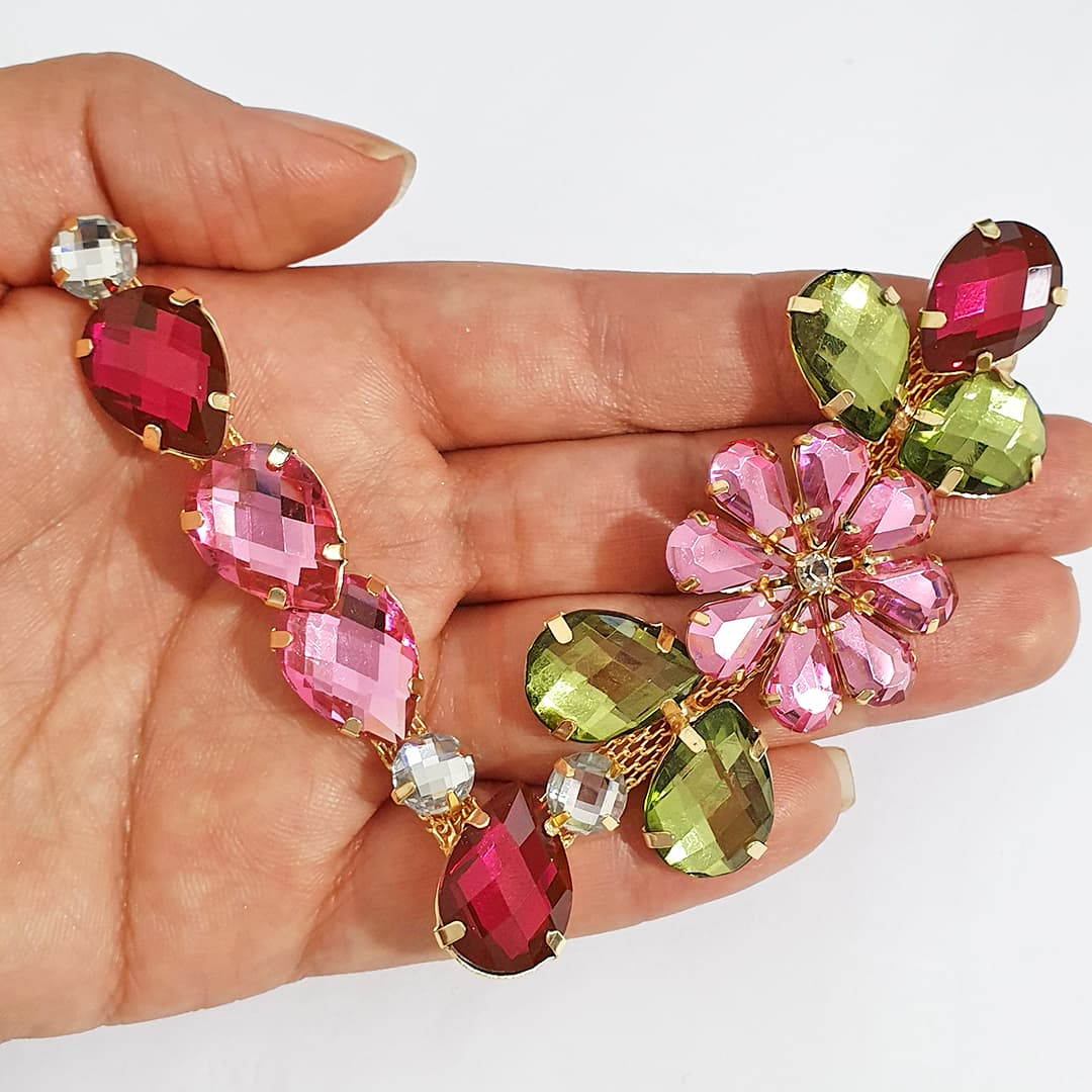 Cabedal Luxo V - Flor de Cinerária Mesclado (Pink, Verde Musgo e Rosa)