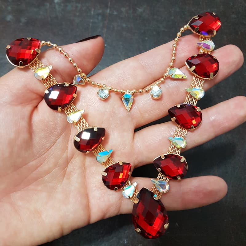 Cabedal Luxo V - Gotas de Chuva (Vermelho)