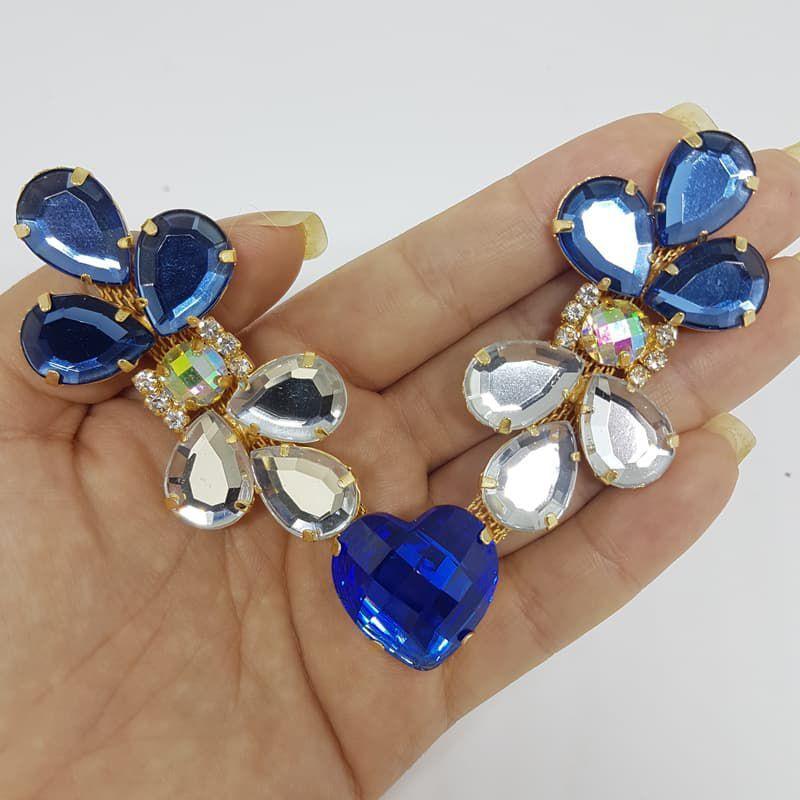 Cabedal Luxo V - Joia Chaton Coração Mesclado (Azul Royal e Azul Marinho)