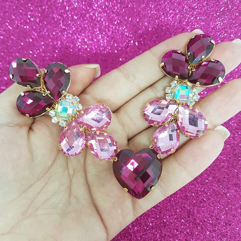 Cabedal Luxo V - Joia Chaton Coração (Pink)
