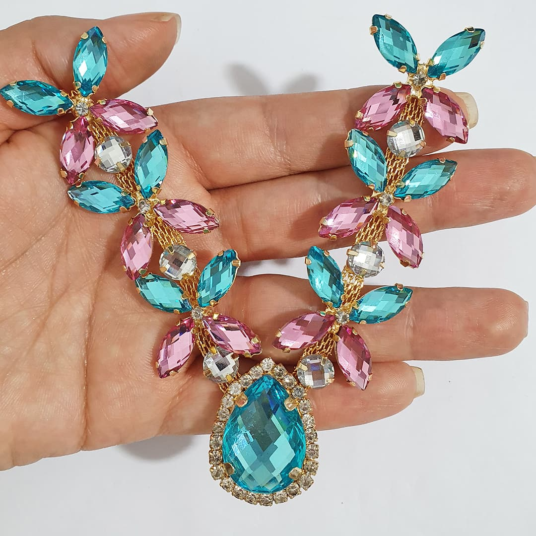 Cabedal Luxo V - Lágrima das Borboletas Mesclado (Azul Água Doce e Rosa)