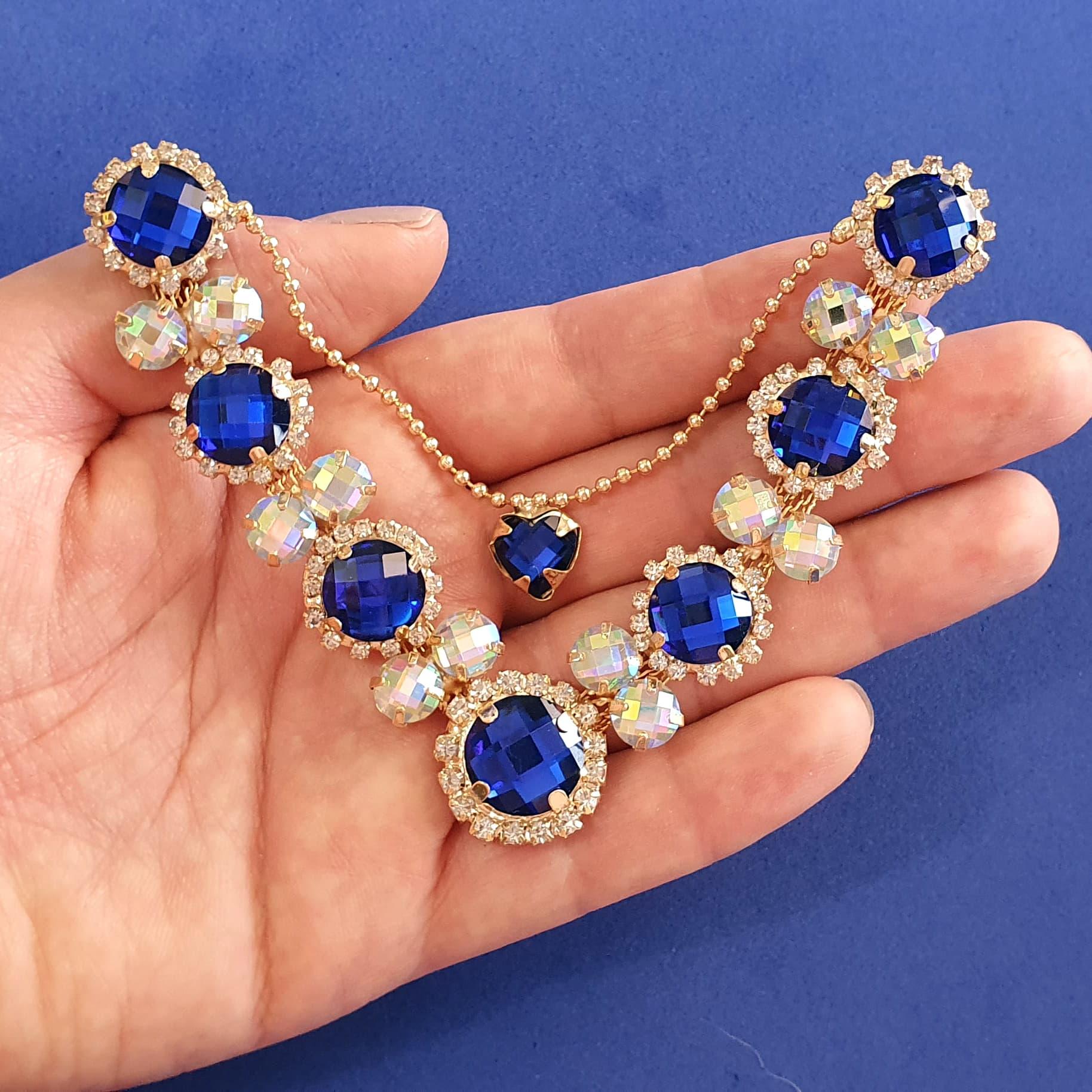 Cabedal Luxo V - Margaridinhas Mesclado (Azul Royal e Furta-Cor)
