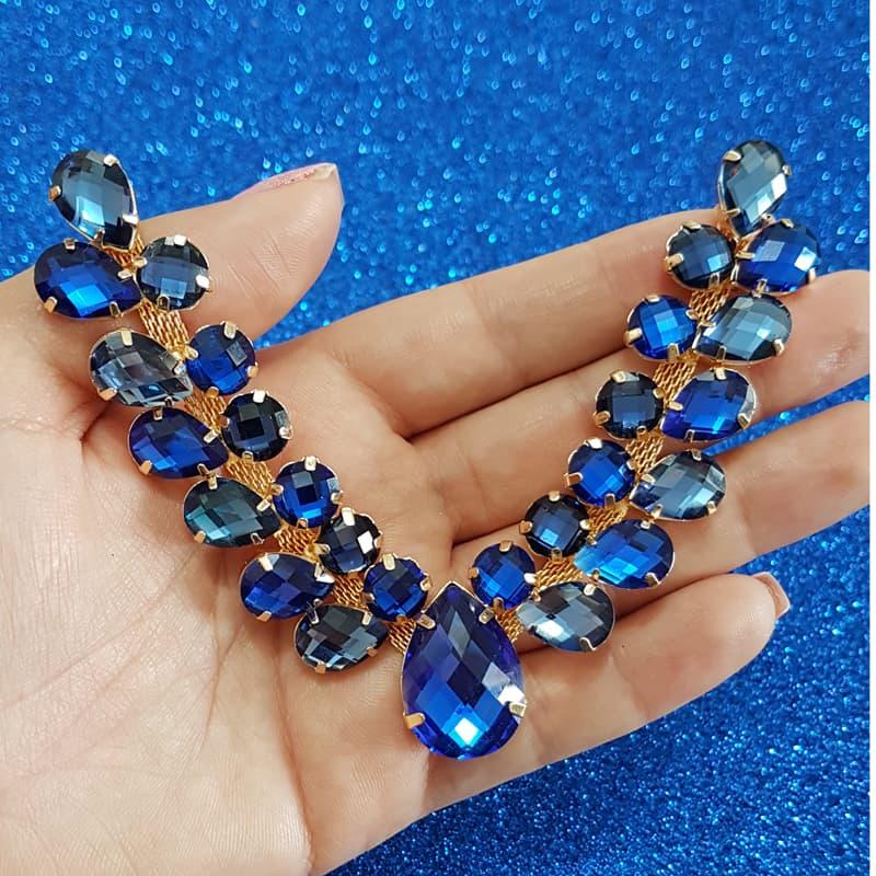 Cabedal Luxo V - Ramos de Oliveira Mesclado (Azul Royal e Azul Marinho)