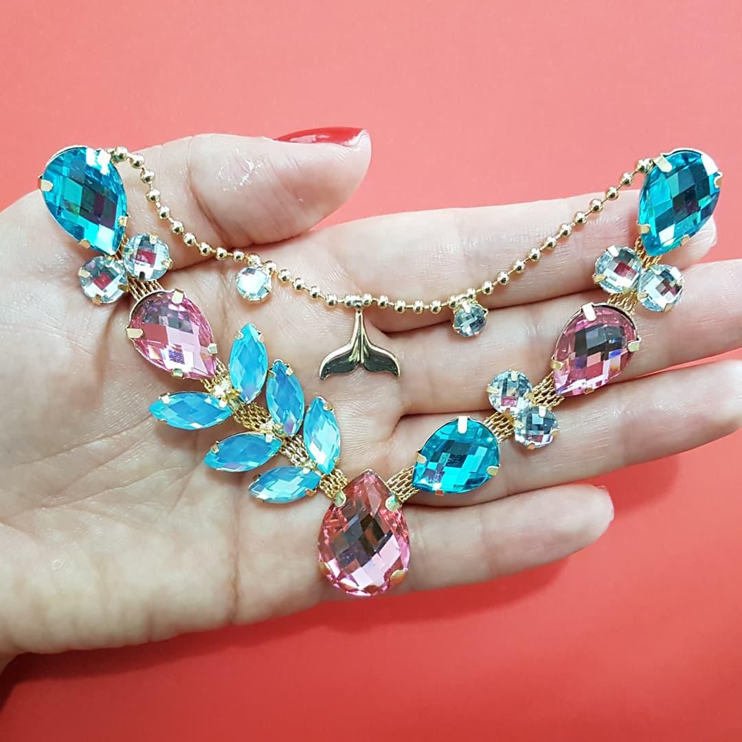 Cabedal Luxo V - Siren Especial Mesclado (Rosa, Azul Bebê e Azul Água Doce)