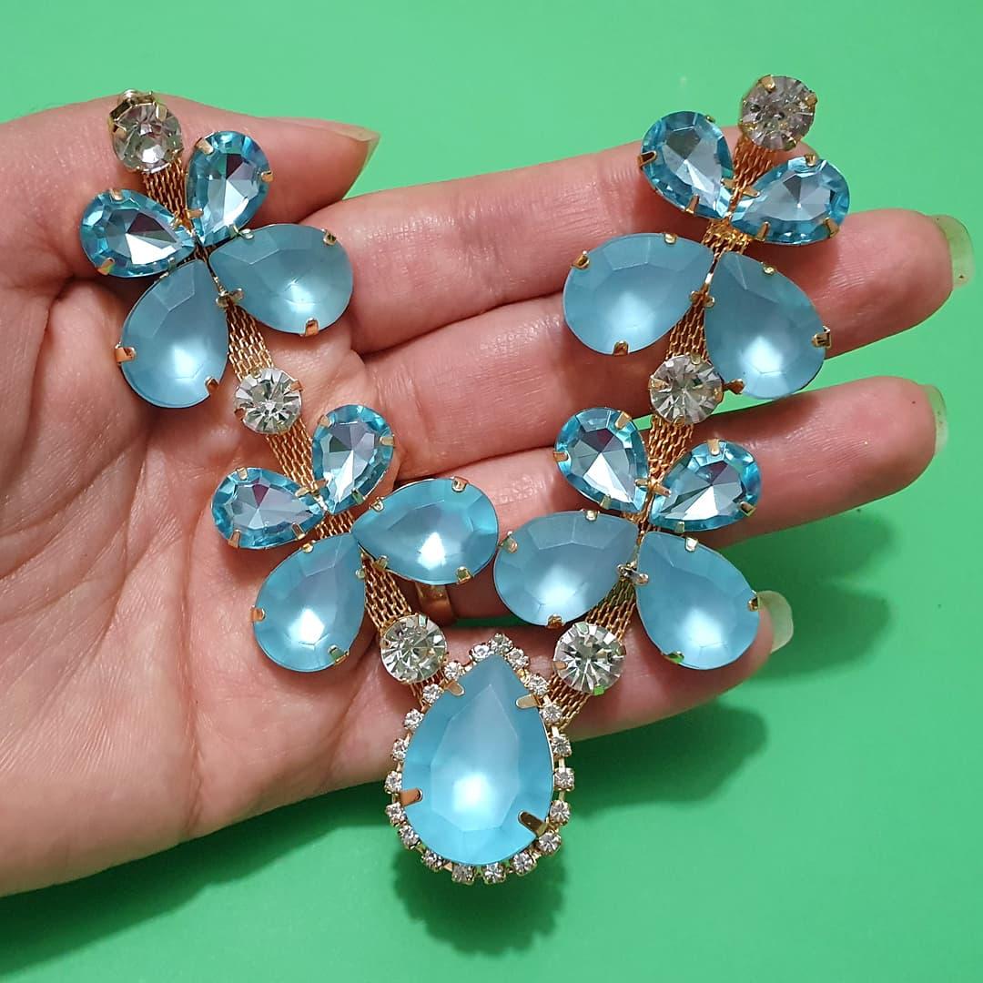 Cabedal Preciosa V - Joia Chaton Strass Mesclado (Azul Água Doce Jateado)