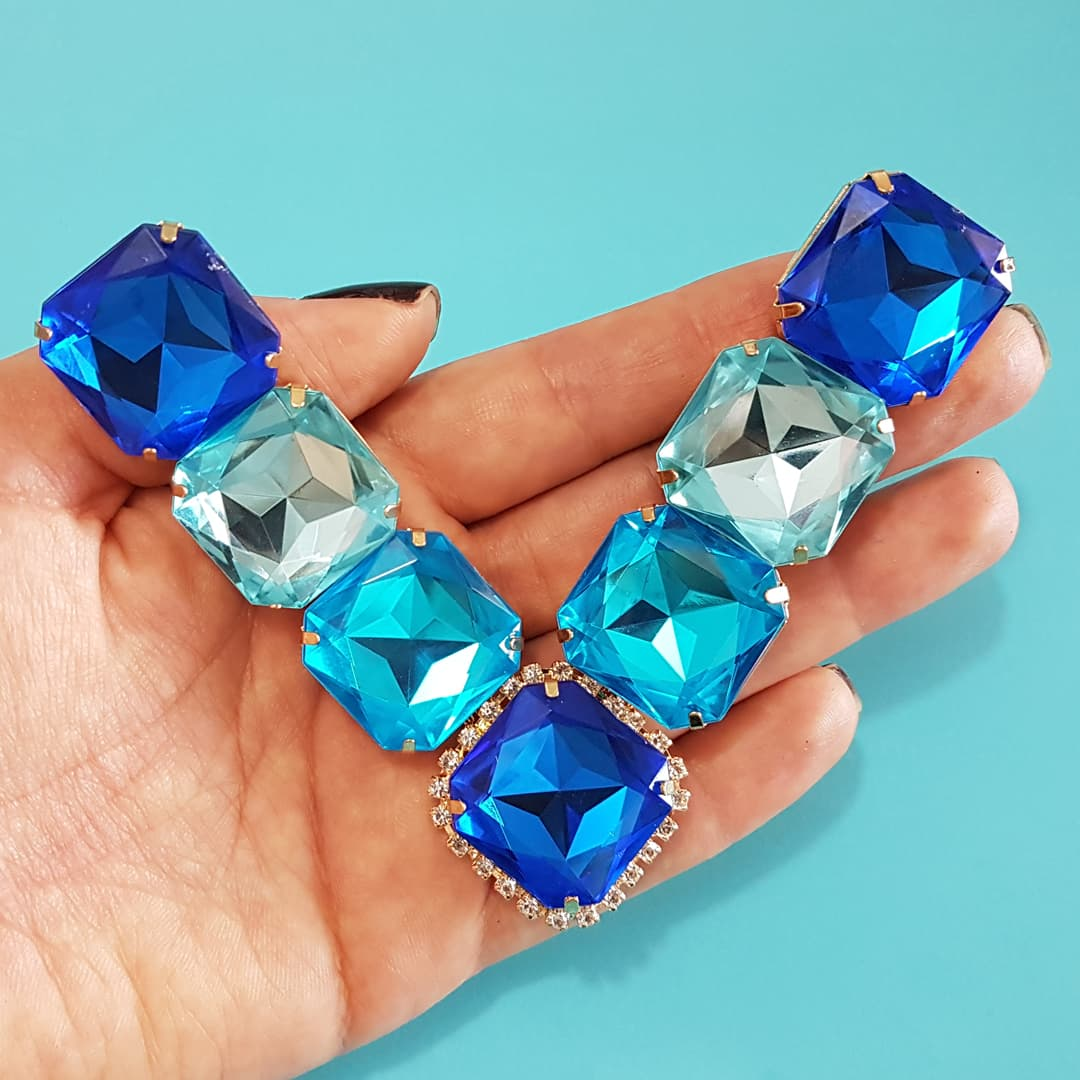 Cabedal Preciosa V - Pastilhas Mesclado (Azul Royal, Azul Água Doce e Azul Piscina)