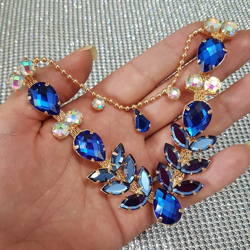 Cabedal Similar V - Siren Mesclado (Azul Royal e Azul Marinho)