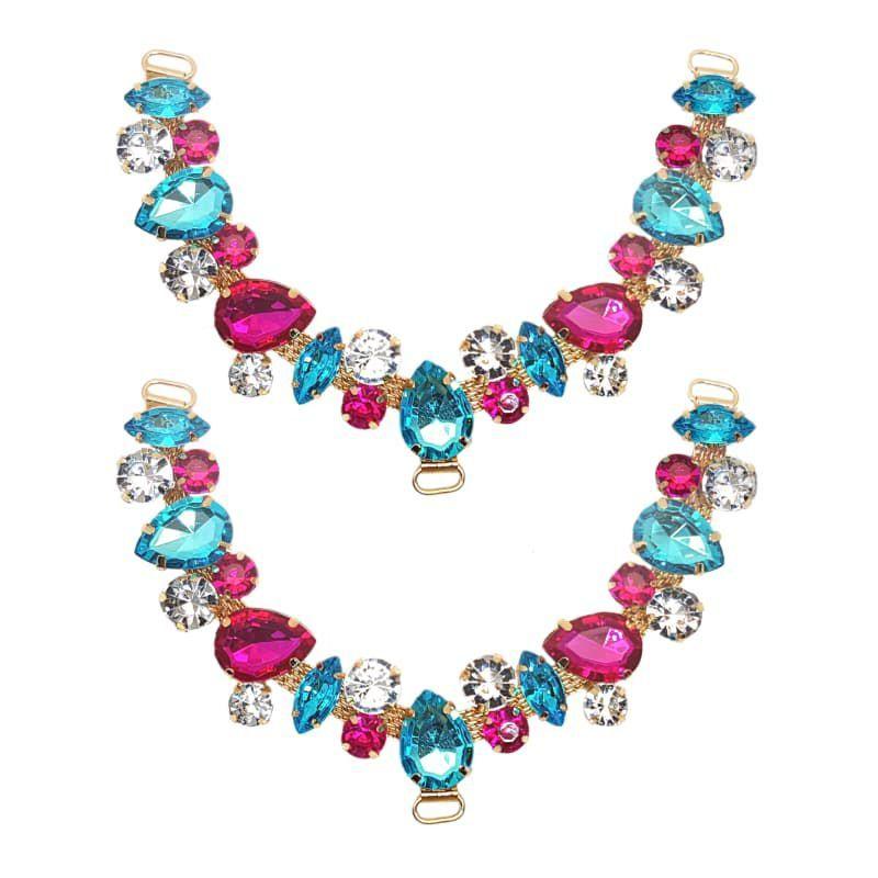 Cabedal V - Amizade Mesclado (Azul e Pink)