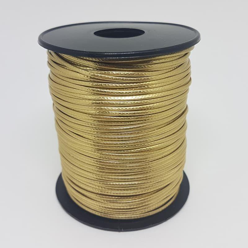 Fio de Couro Sintético 1mm 100m (Dourado)