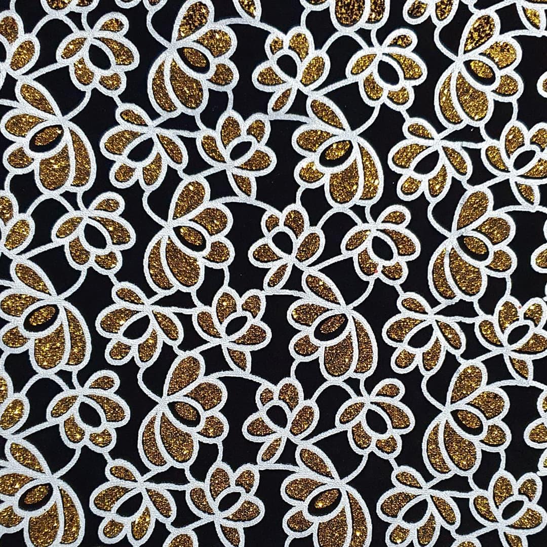 Lonita Tecido - Tribal de Flores (Branco)