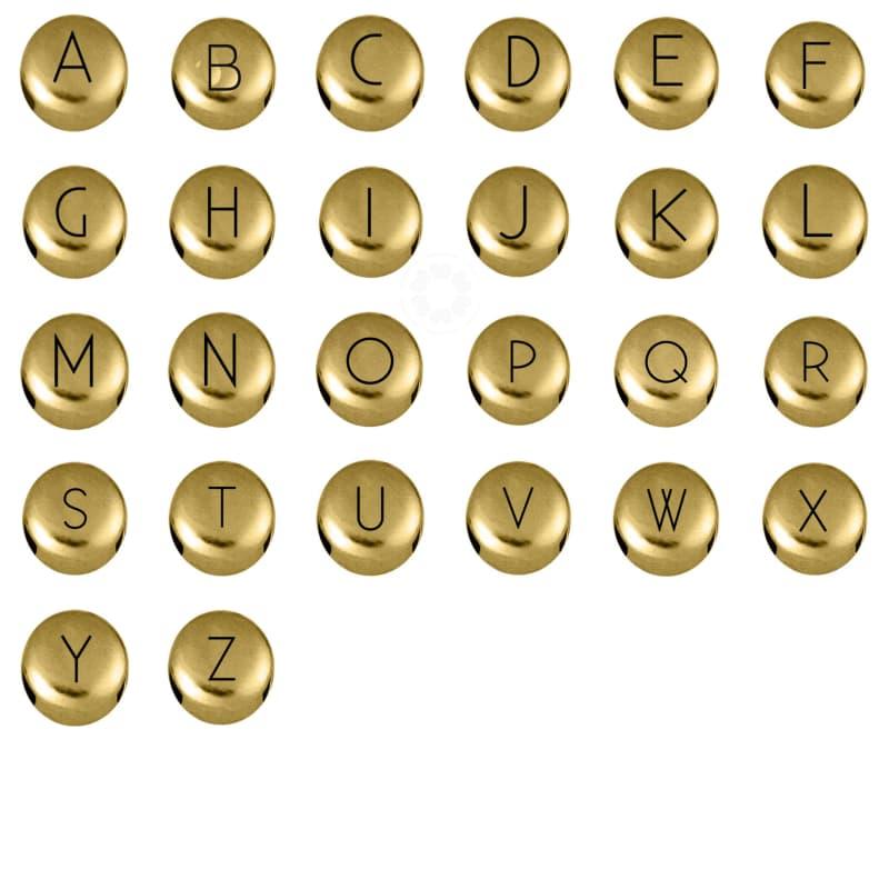 Passador Metal Letra Redonda 8mm A-Z (Dourado)