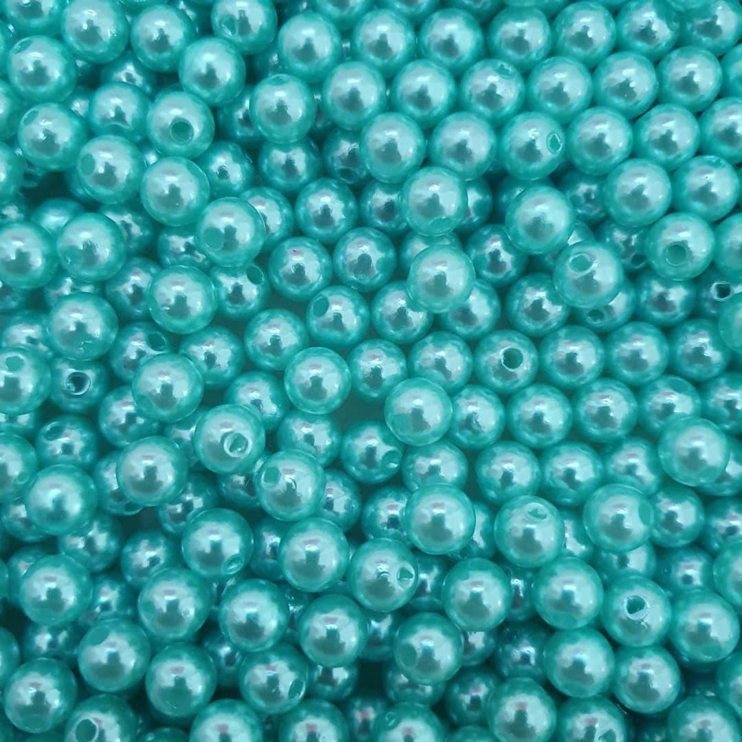 Pérola Inteira ABS 8mm 50g (Verde Água Escuro)