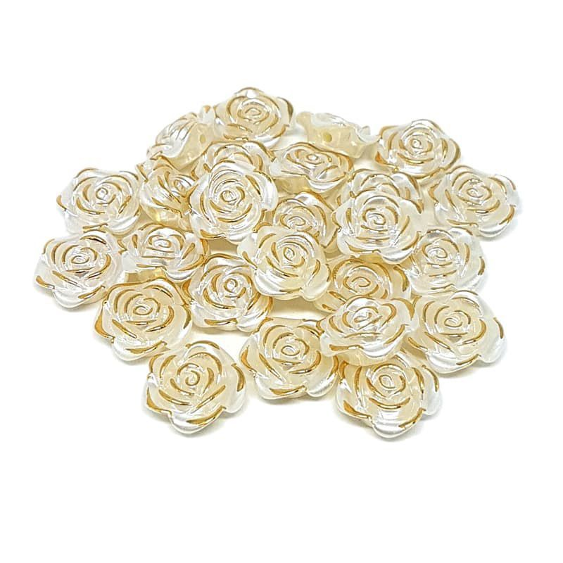 Pérola Rosa Filete Dourado ABS 18mm 50g (Creme)