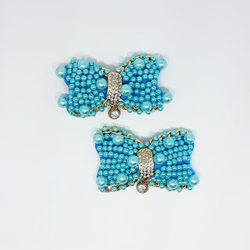 Piercing Feltro - Laço Pérola Strass (Azul)