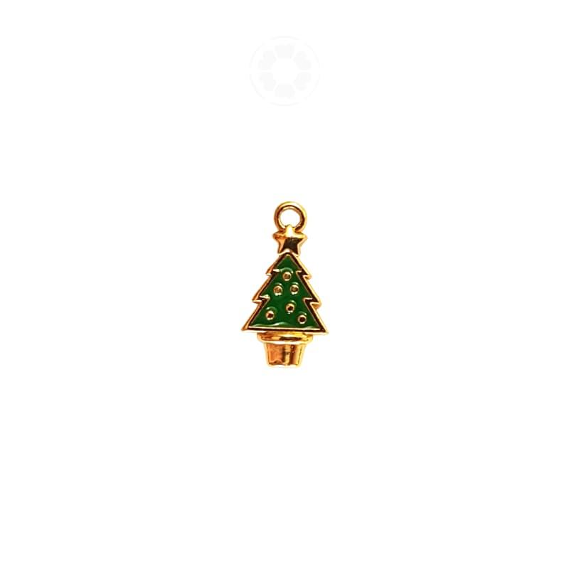 Pingente Metal Árvore de Natal 20mm (Dourado)