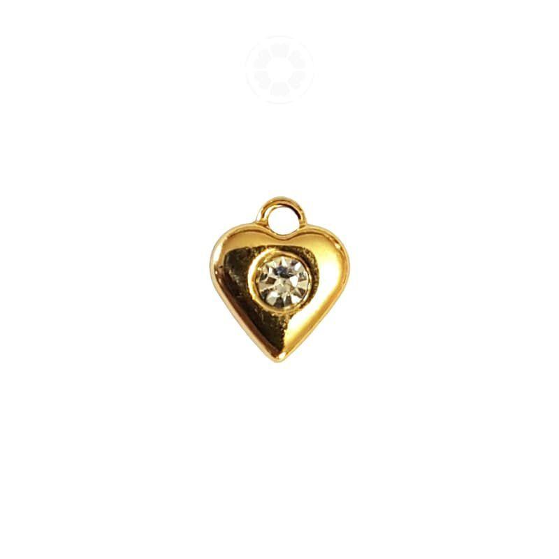 Pingente Metal Coração Strass 14mm (Dourado)