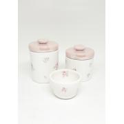 Kit Higiene Bebê Cerâmica Floral Rosa | Perolizado nas Tampas| 3 peças