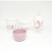 Kit Higiene Bebê Cerâmica Pássaros Rosas