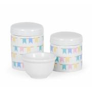 Kit Higiene Bebê Porcelana Bandeirinhas Linha Luxo