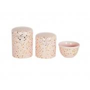 Kit Higiene Bebê Porcelana Céu Dourado e Rosa Linha Luxo 3 peças