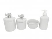 Kit Higiene Bebê Porcelana| Elefante Cinza em Biscuit| 4 Peças