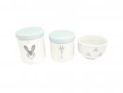 Kit Higiene Bebê Porcelana Escandinavo |Coelho e Girafa | Geométrico| Tampa Azul Antigo