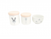 Kit Higiene Bebê Porcelana Escandinavo |Coelho e Girafa | Geométrico | Tampa Rosa