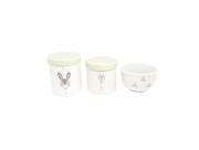 Kit Higiene Bebê Porcelana Escandinavo |Coelho e Girafa | Geométrico | Tampa Verde