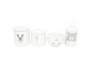 Kit Higiene Bebê Porcelana  Escandinavo | Coelho Urso e Girafa