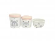 Kit Higiene Bebê Porcelana Escandinavo |Urso e Raposa | Geométrico | Tampa Rosa Antigo