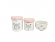 Kit Higiene Bebê Porcelana Escandinavo |Urso e Raposa | Geométrico | Tampa Rosa Poá