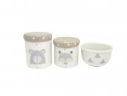 Kit Higiene Bebê Porcelana Escandinavo |Urso e Raposa | Geométrico | Tampas Cinzas com Poá