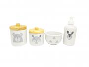 Kit Higiene Bebê Porcelana Escandinavo |Urso e Raposa | Tampas em Madeira Pinus