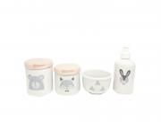 Kit Higiene Bebê Porcelana Escandinavo |Urso e Raposa | Tampas Perolizadas