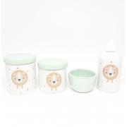 Kit higiene bebê porcelana Leão leãozinho/ Verde