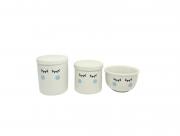 Kit Higiene Bebê Porcelana Olhinhos Cílios | Bochechas azuis 3 peças | Azul