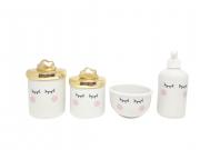 Kit Higiene bebê Porcelana Olhinhos Cílios com Tampa Dourada Metalizada | Nuvem Dourada