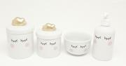 Kit Higiene Bebê Porcelana | Olhinhos Cílios Nuvem Dourada| 4 peças