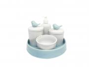 Kit Higiene Bebê Porcelana| Pássaro Azul Antigo + Bandeja Cerâmica Azul Antigo| 5 peças