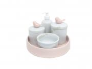 Kit Higiene Bebê Porcelana| Pássaros Rosa Antigo com Bandeja em Cerâmica Rosa Antigo| 5 peças