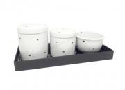 Kit Higiene Bebê Porcelana Poá Preto e Bandeja de Vidro Preta | 4 peças