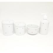 Kit Higiene Bebê Porcelana Poa Rosa