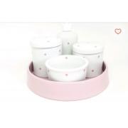Kit Higiene Bebê Porcelana poa rosa  com bandeja cerâmica rosa 21 cm