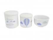 Kit Higiene Bebê Porcelana| Sonhe Alto Meu Pequeno| Balão Azul| Nuvem | 3 peças